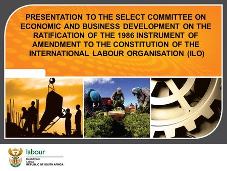 RATIFICATION OF THE 1986 INSTRUMENT OF AMENDMENT TO THE CONSTITUTION OF THE INTERNATIONAL LABOUR ORGANISATION (ILO) PRESENTATION TO THE SELECT COMMITTEE.