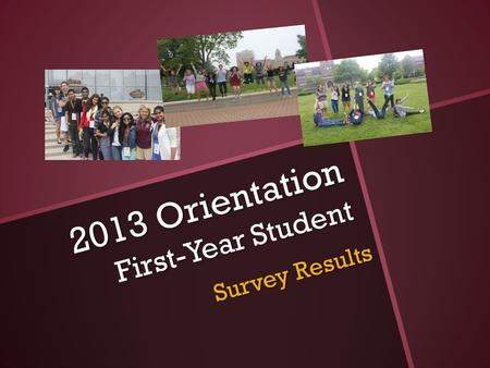 2013 Orientation First-Year Student Survey Results.