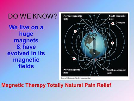 DO WE KNOW? We live on a huge magnets & have evolved in its magnetic fields Magnetic Therapy Totally Natural Pain Relief.