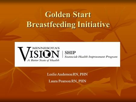 Golden Start Breastfeeding Initiative Leslie Anderson RN, PHN Laura Pearson RN, PHN.