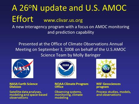 A 26oN update and U.S. AMOC Effort