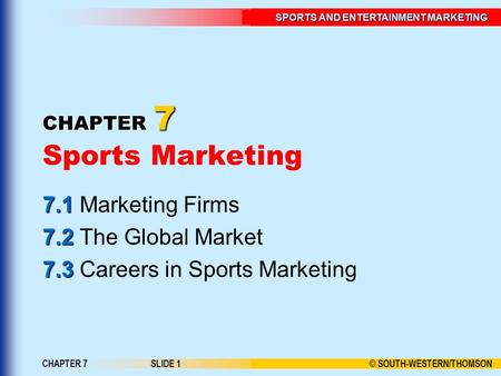 © SOUTH-WESTERN/THOMSON SPORTS AND ENTERTAINMENT MARKETING CHAPTER 7SLIDE 1 CHAPTER 7 CHAPTER 7 Sports Marketing 7.1 7.1 Marketing Firms 7.2 7.2 The Global.