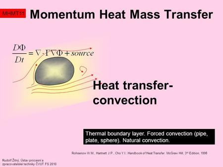 Momentum Heat Mass Transfer MHMT11 Thermal boundary layer. Forced convection (pipe, plate, sphere). Natural convection. Rudolf Žitný, Ústav procesní a.
