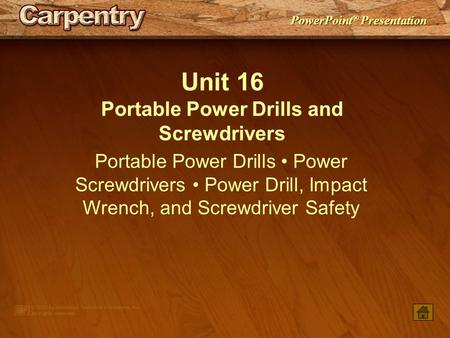 Portable Power Drills and Screwdrivers
