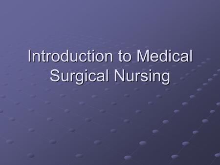 history of medical surgical nursing pdf