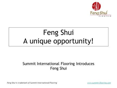 Feng Shui is trademark of Summit International Flooringwww.summit-flooring.com Feng Shui A unique opportunity! Summit International Flooring Introduces.