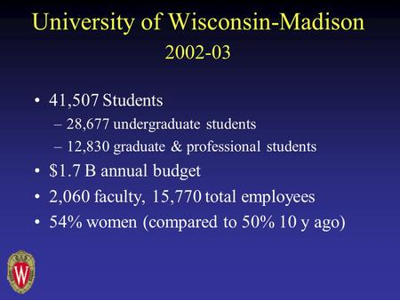 University of Wisconsin-Madison 2002-03 41,507 Students –28,677 undergraduate students –12,830 graduate & professional students $1.7 B annual budget 2,060.