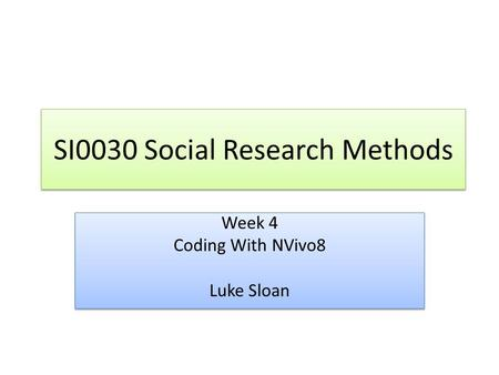 SI0030 Social Research Methods Week 4 Coding With NVivo8 Luke Sloan Week 4 Coding With NVivo8 Luke Sloan.