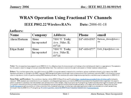 Doc.: IEEE 802.22-06/0019r0 Submission January 2006 Ahren Hartman, Shure IncorporatedSlide 1 WRAN Operation Using Fractional TV Channels IEEE P802.22 Wireless.