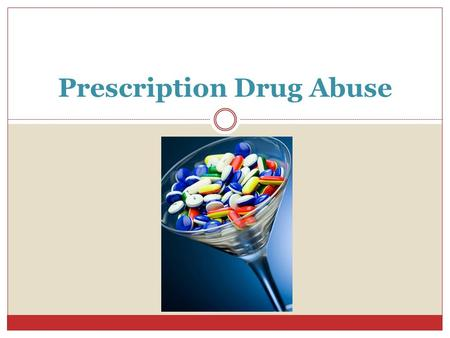 Prescription Drug Abuse. What is prescription drug abuse? Prescription drug abuse is when someone takes a medication in an inappropriate way, such as: