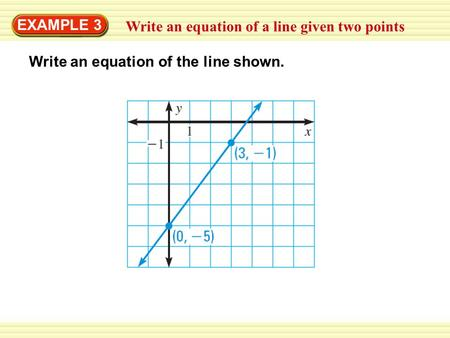 EXAMPLE 3 Write an equation of a line given two points