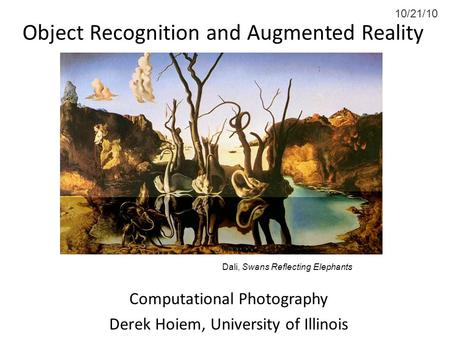 Object Recognition and Augmented Reality