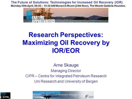 Research Perspectives: Maximizing Oil Recovery by IOR/EOR