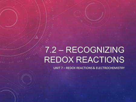 7.2 – RECOGNIZING REDOX REACTIONS UNIT 7 – REDOX REACTIONS & ELECTROCHEMISTRY.