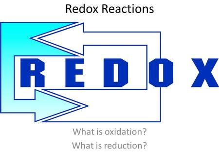 Redox Reactions What is oxidation? What is reduction?