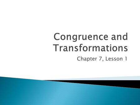 Congruence and Transformations