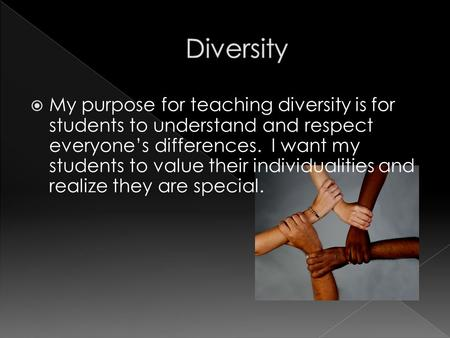  My purpose for teaching diversity is for students to understand and respect everyone's differences. I want my students to value their individualities.