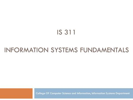 Information Systems Fundamentals