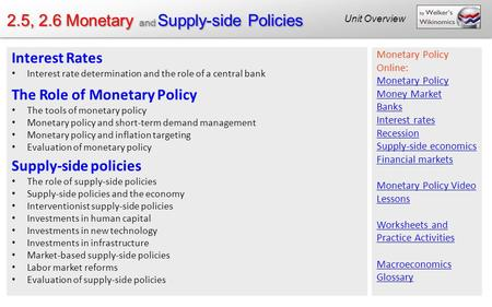 2.5, 2.6 Monetary and Supply-side Policies Unit Overview Interest Rates Interest rate determination and the role of a central <strong>bank</strong> The Role of Monetary.