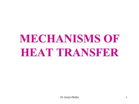 Dr. Şaziye Balku1 MECHANISMS OF HEAT TRANSFER. Dr. Şaziye Balku2 HEAT TRANSFER form of energy transfer due to temperature difference higher temperature.