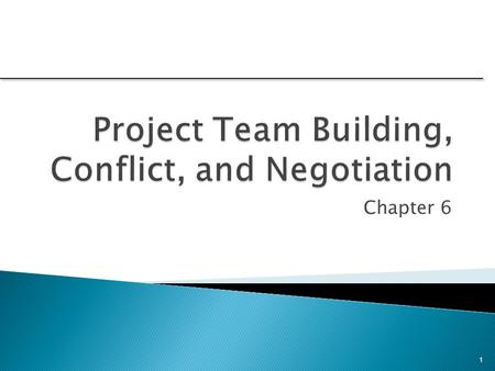 Chapter 6 1. 1.Understand the steps involved in project team building. 2.Know the characteristics of effective project teams and why teams fail. 3.See.