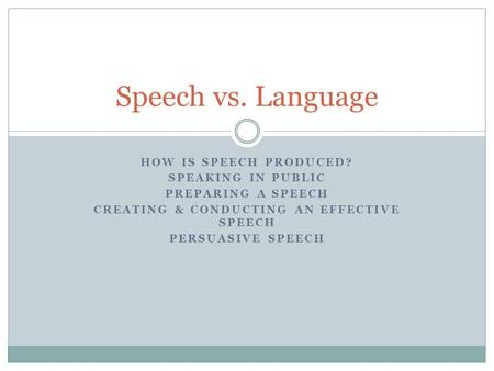 HOW IS SPEECH PRODUCED? SPEAKING IN PUBLIC PREPARING A SPEECH CREATING & CONDUCTING AN EFFECTIVE SPEECH PERSUASIVE SPEECH Speech vs. Language.