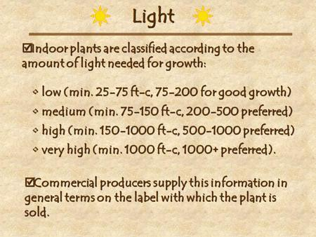 Light  Indoor plants are classified according to the amount of light needed for growth: low (min. 25-75 ft-c, 75-200 for good growth) low (min. 25-75.