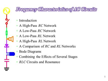 Introduction A High-Pass RC Network A Low-Pass RC Network A Low-Pass RL Network A High-Pass RL Network A Comparison of RC and RL Networks Bode Diagrams.