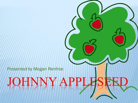 Presented by Megan Renfroe  Real Name is John Chapman  Known for introducing apple seeds.  Born on September 26, 1774 in Massachusetts.  Died in.
