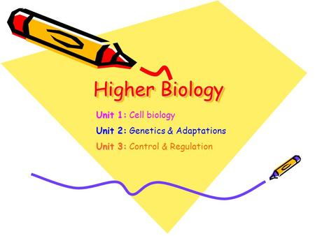 Higher Biology Unit 1: Unit 1: Cell biology Unit 2: Unit 2: Genetics & Adaptations Unit 3: Unit 3: Control & Regulation.