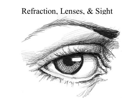 Refraction, Lenses, & Sight. Refraction The change in direction of a wave as is crosses the boundary between two media in which the wave travels at different.