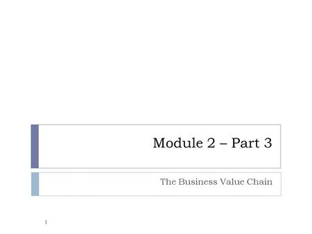 Module 2 – Part 3 The Business Value Chain 1. The Internet's impact on competitive advantage  Nearly destroy some industries and has severely threatened.
