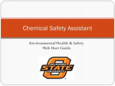 Environmental Health & Safety Web User Guide Chemical Safety Assistant.