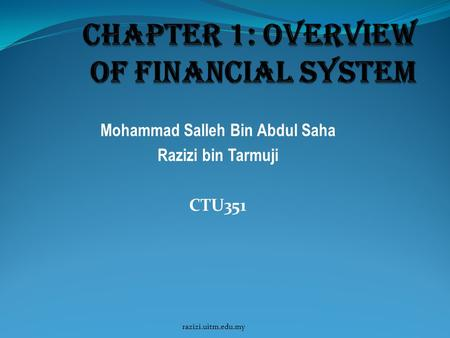 Chapter 1: Overview of financial system