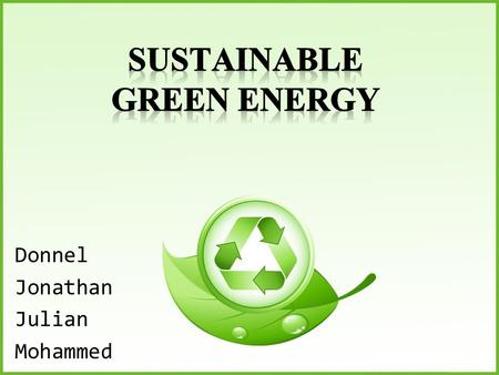 Donnel Jonathan Julian Mohammed. How Can We Go Green? Text.