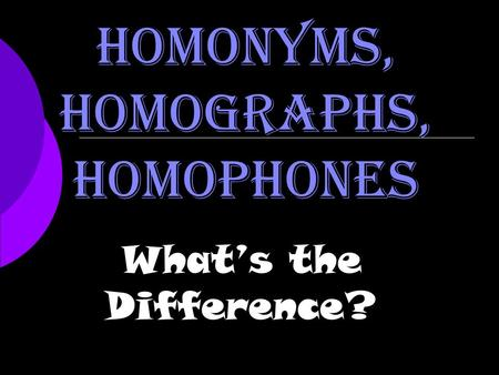 Homonyms, Homographs, Homophones What's the Difference?
