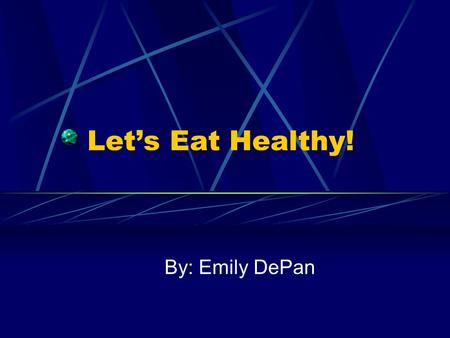 Let's Eat Healthy! By: Emily DePan. Let's Eat Healthy! This main concept of this text set is centered on teaching and motivating kids at a young age to.