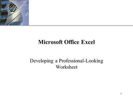 XP 1 Microsoft Office Excel Developing a Professional-Looking Worksheet.