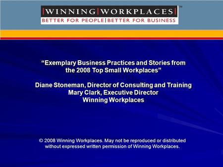 """Exemplary Business Practices and Stories from the 2008 Top Small Workplaces"" Diane Stoneman, Director of Consulting and Training Mary Clark, Executive."