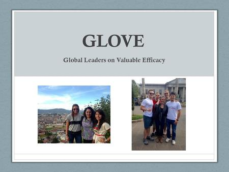 GLOVE Global Leaders on Valuable Efficacy. Our Purpose We seek to alleviate, empower and support medical teams abroad. Focus on assisting low-income and/or.