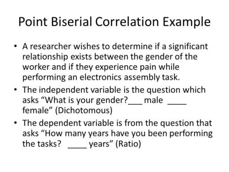 Point Biserial Correlation Example