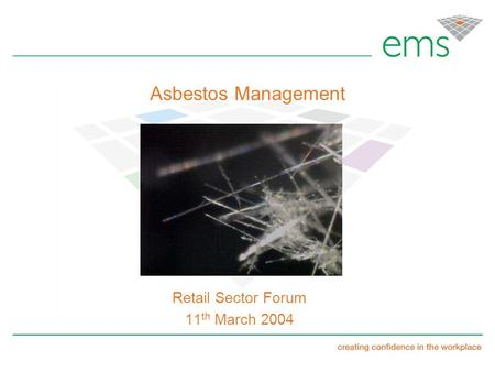 Asbestos Management Retail Sector Forum 11 th March 2004.