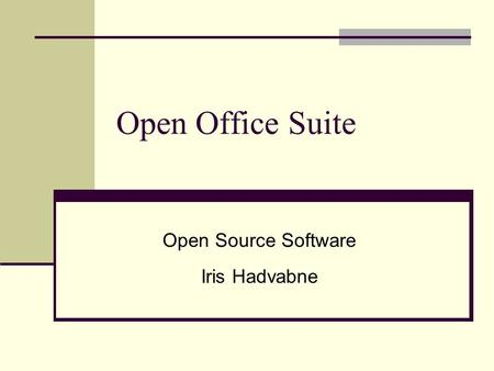 Open Source Software Iris Hadvabne