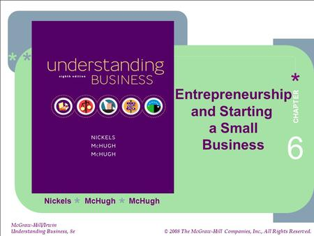 ****** 6-1 1-1 McGraw-Hill/Irwin Understanding Business, 8e © 2008 The McGraw-Hill Companies, Inc., All Rights Reserved. Nickels McHugh McHugh ** Entrepreneurship.