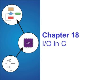 Chapter 18 I/O in C. Copyright © The McGraw-Hill Companies, Inc. Permission required for reproduction or display. 18-2 Standard C Library I/O commands.
