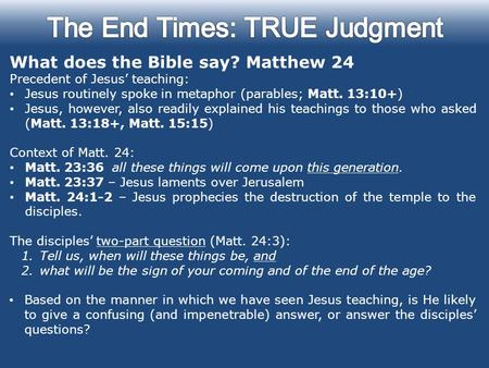 The End Times: TRUE Judgment