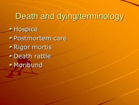 Death and dying/terminology