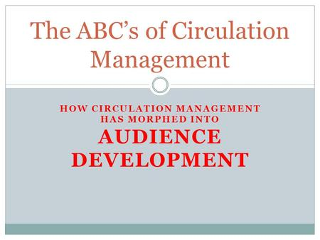HOW CIRCULATION MANAGEMENT HAS MORPHED INTO AUDIENCE DEVELOPMENT The ABC's of Circulation Management.