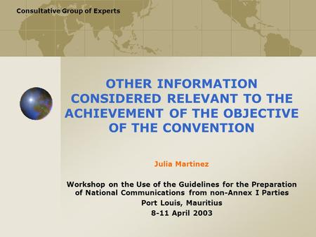 Consultative Group of Experts OTHER INFORMATION CONSIDERED RELEVANT TO THE ACHIEVEMENT OF THE OBJECTIVE OF THE CONVENTION Julia Martinez Workshop on the.