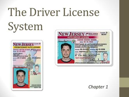 The Driver License System Chapter 1. In 2004, NJ Changed to a digital driver's license to prevent fraud Altering a Driver's License will result in jail.